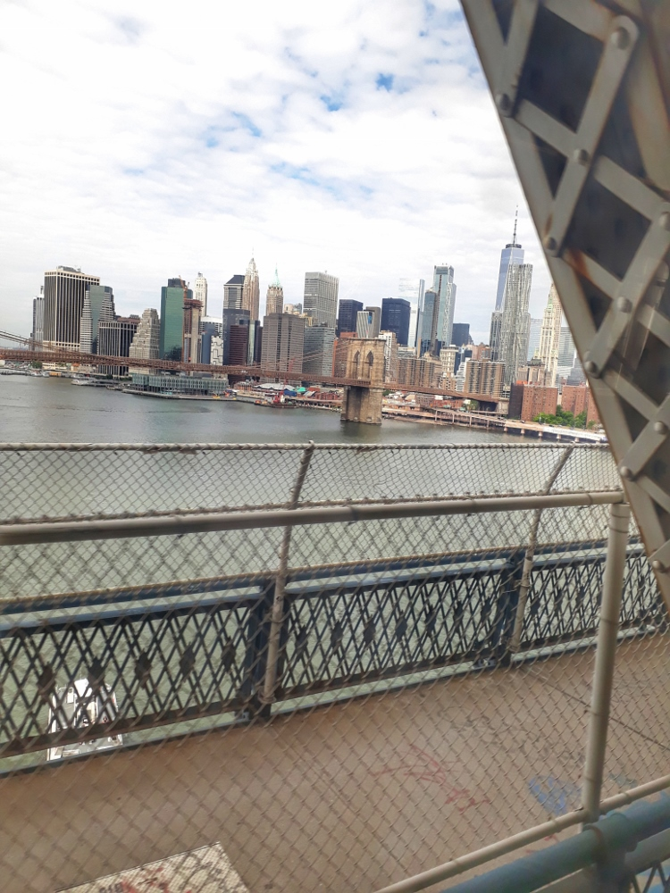 View of downtown Manhattan from the Manhattan Bridge on the way to Coney Island
