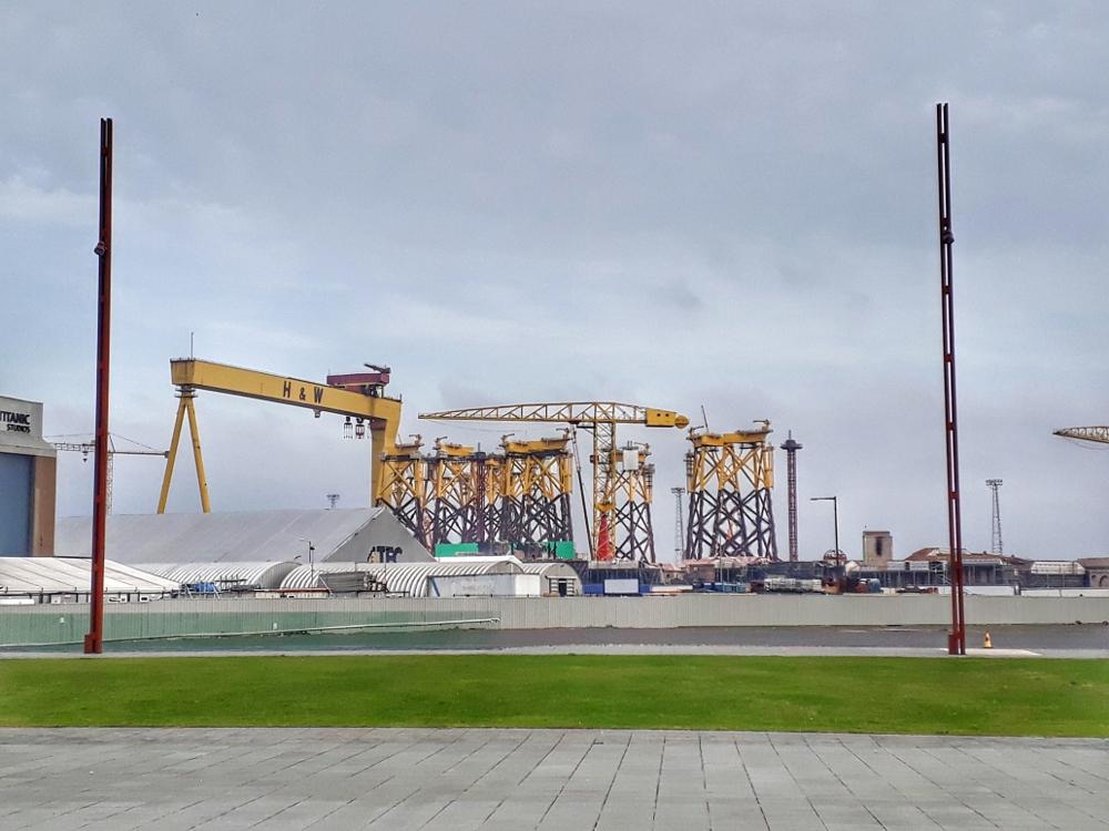 Belfast Dockyard and cranes - Titanic Museum
