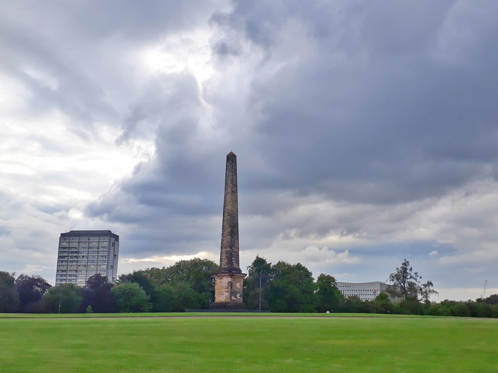 Nelson's column in Glasgow green Park