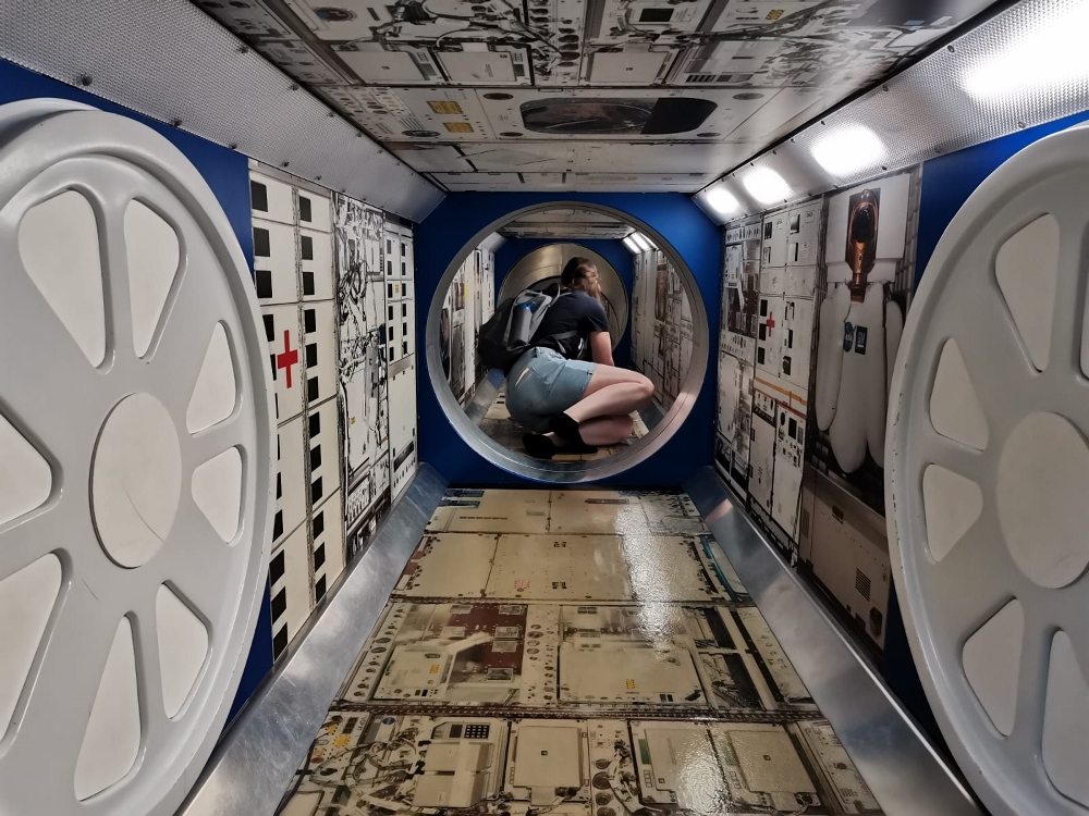 Crawling through the International Space Station replica